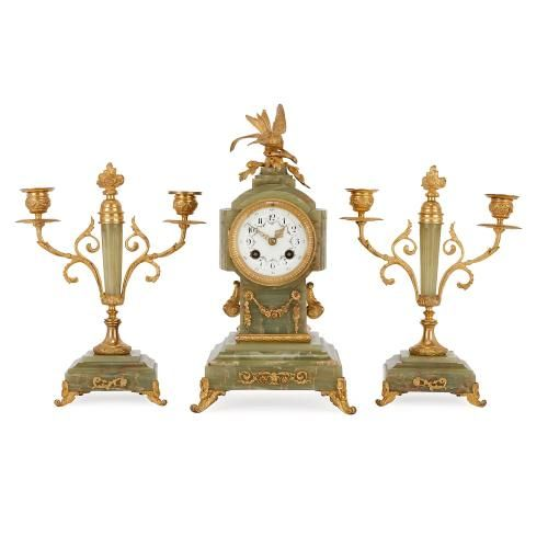 Antique ormolu mounted onyx three piece French clock set