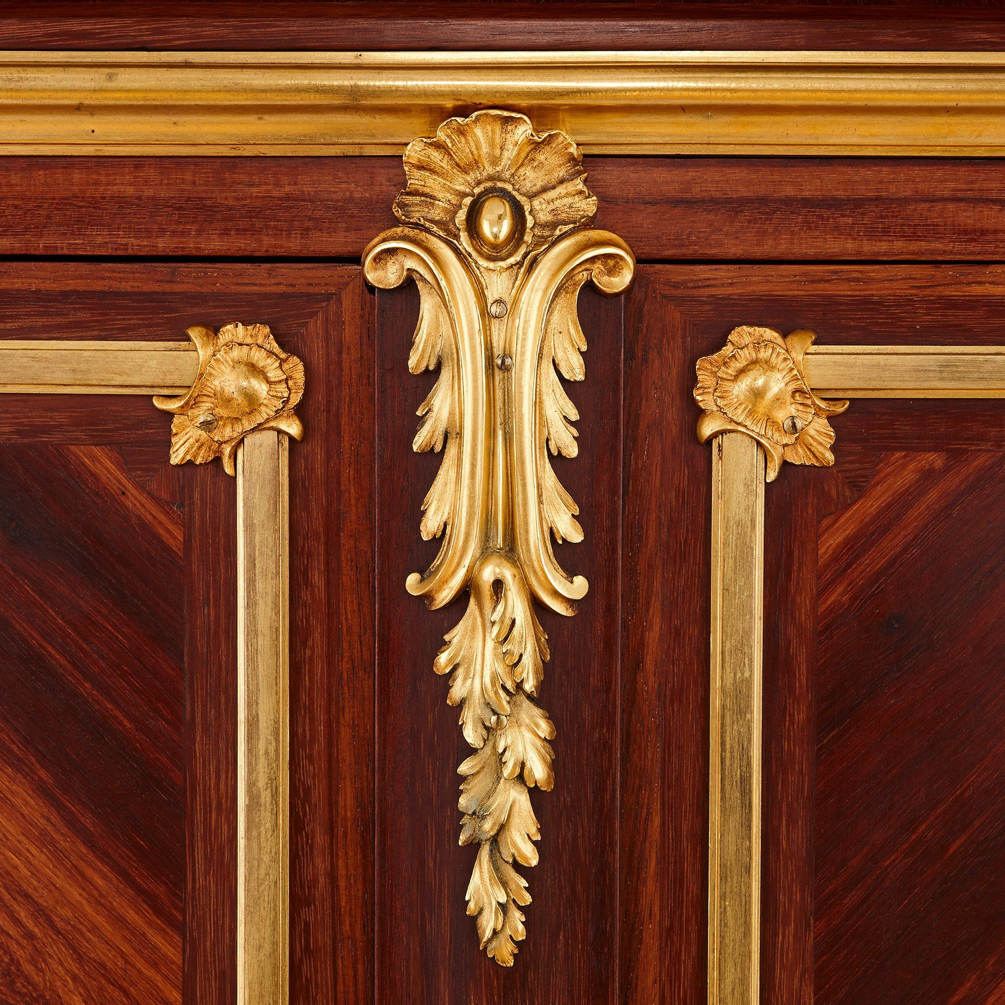 Pair Of Antique French Rococo Style Marquetry And Ormolu