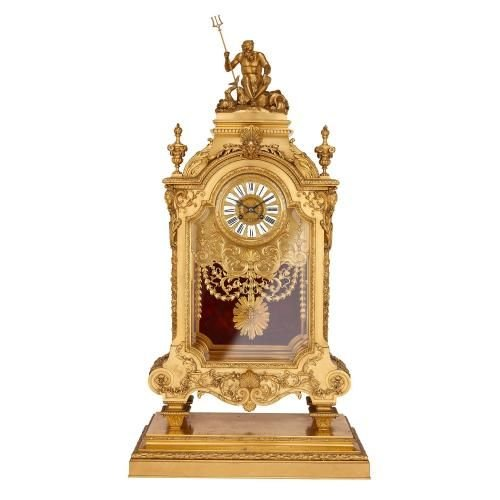 Large antique ormolu mantel clock by Ferdinand Barbedienne
