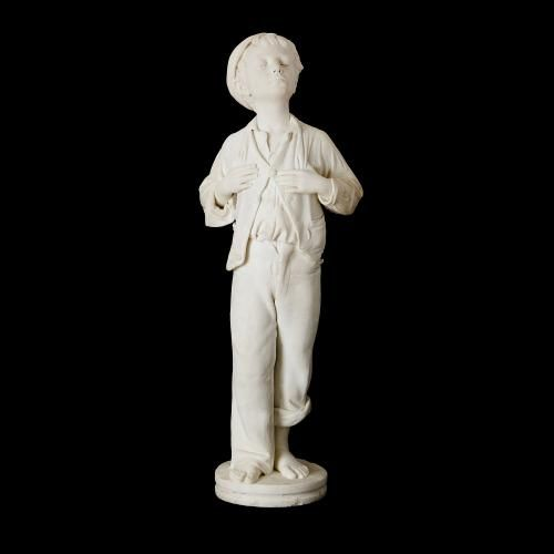 Marble figure of a boy by Galleria Bazzanti, Florence