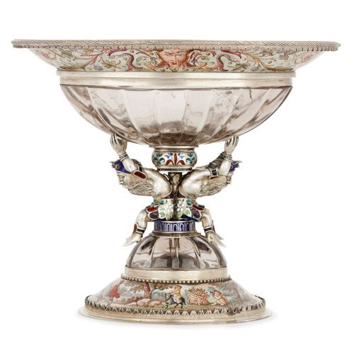 Antique Viennese silver, enamel and rock crystal cup