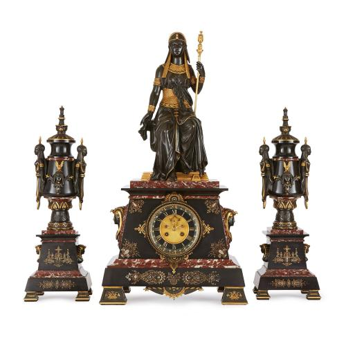 Egyptian Revival antique clock set attributed to Herbert