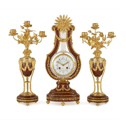 Neoclassical style jewelled ormolu and marble clock set