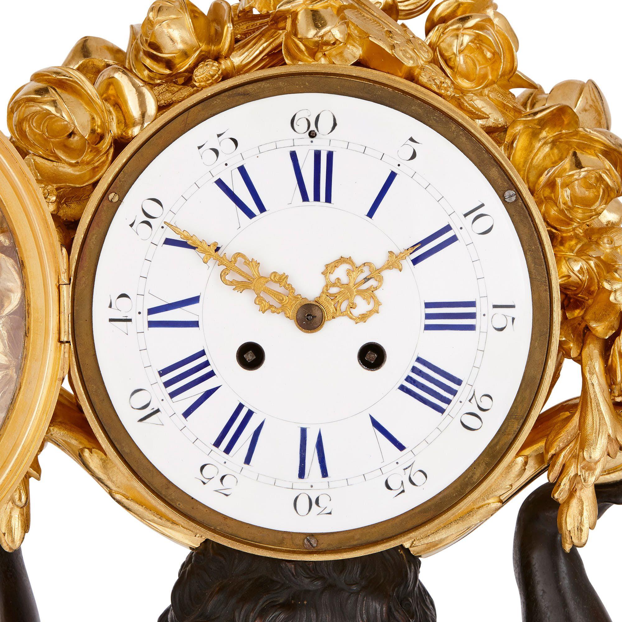 Large Ormolu Malachite And Patinated Bronze Clock Set
