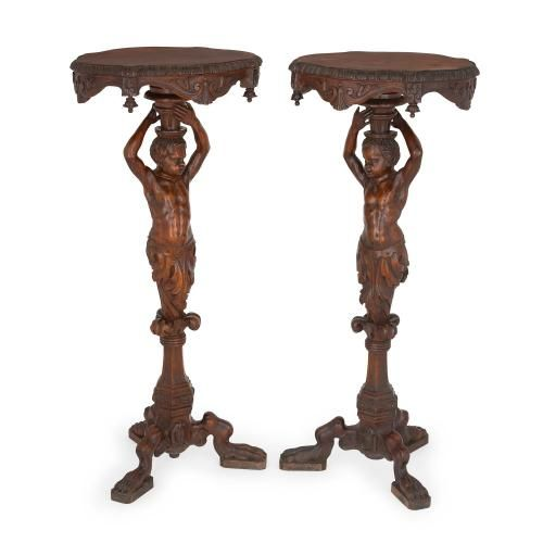 Pair of carved walnut antique Baroque style side tables