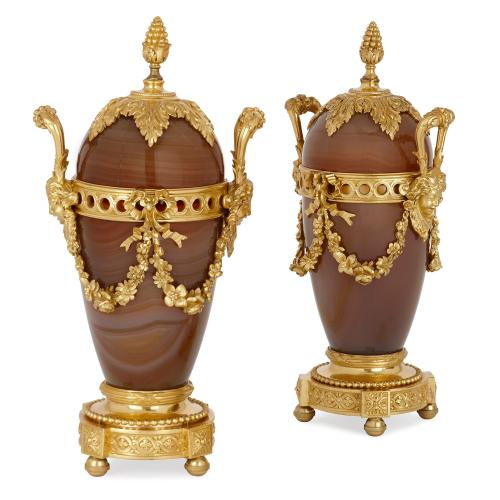 Pair of antique Russian ormolu mounted agate vases