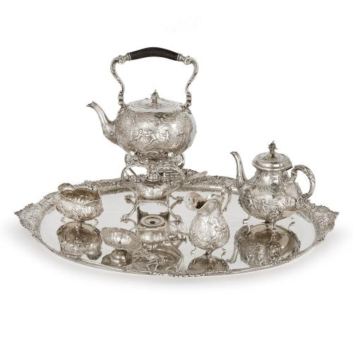 Solid silver antique German tea and coffee service