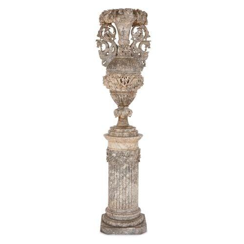 Large Italian carved alabaster vase on pedestal