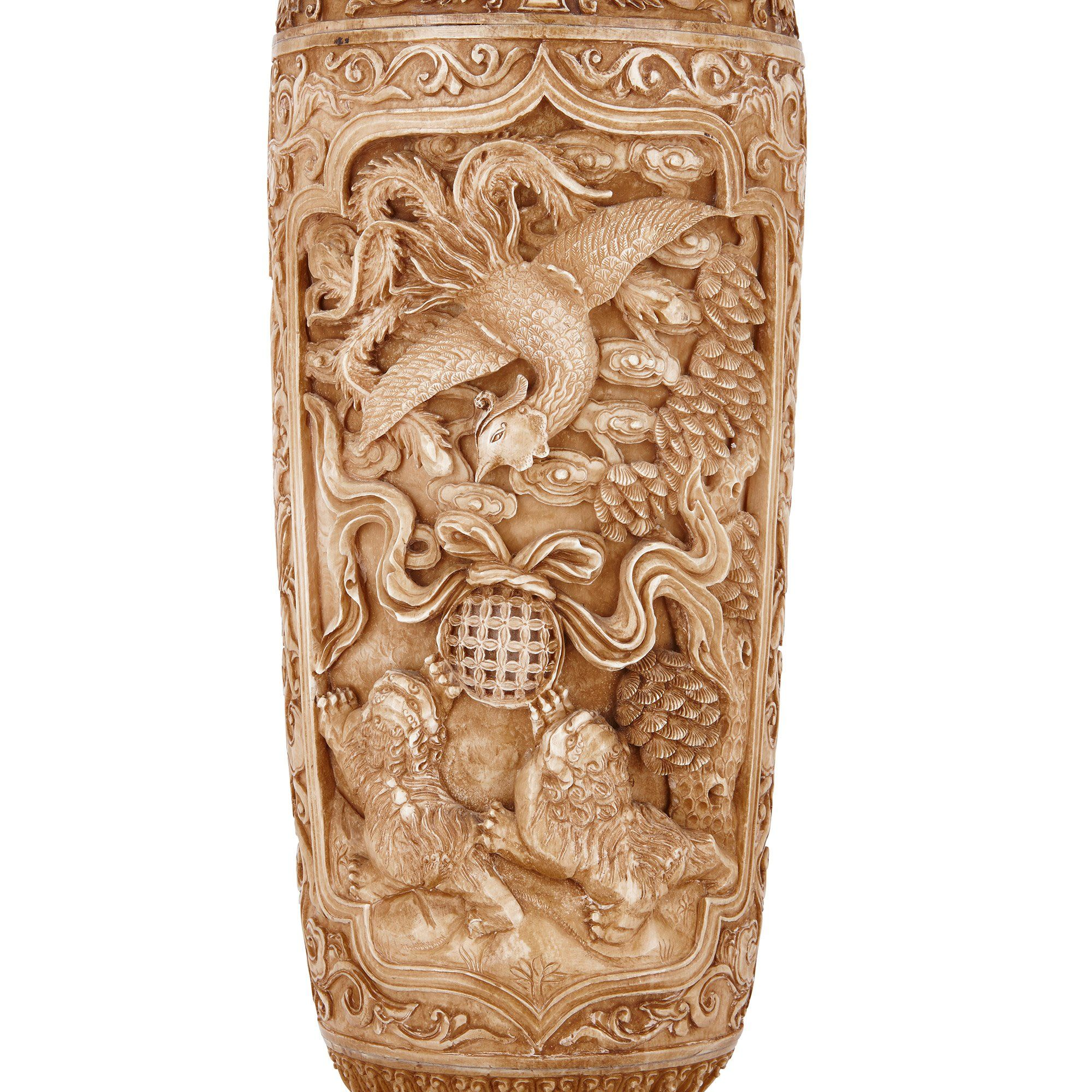 Pair Of Antique Chinese Carved Ivory Vases And Covers Mayfair Gallery