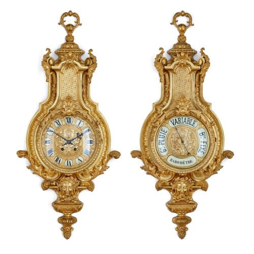 Antique French ormolu clock and barometer set by Beurdeley