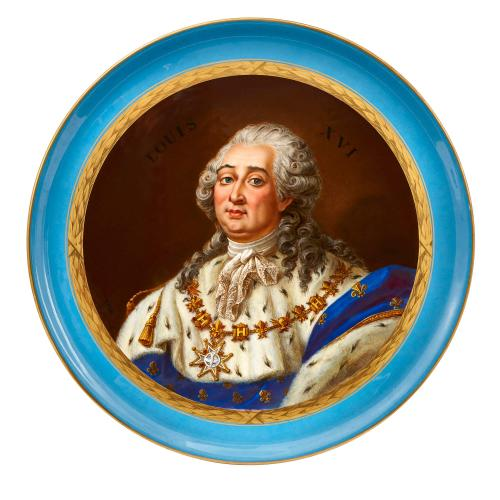 French Sevres style porcelain plate with portrait of Louis XVI