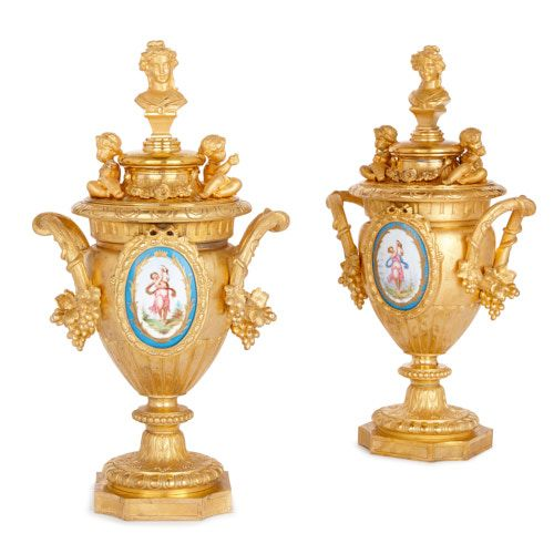 Pair of antique French gilt metal and porcelain vases by Mourey