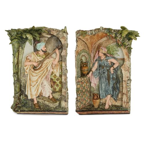 Pair of Orientalist antique majolica plaques by Kaffsack