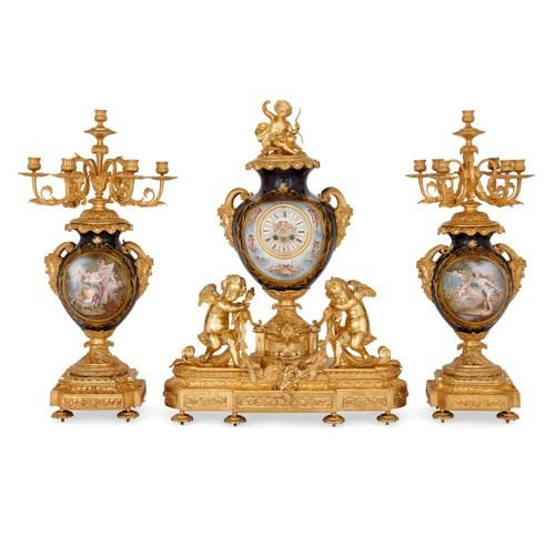 Large ormolu mounted Sèvres style porcelain clock set