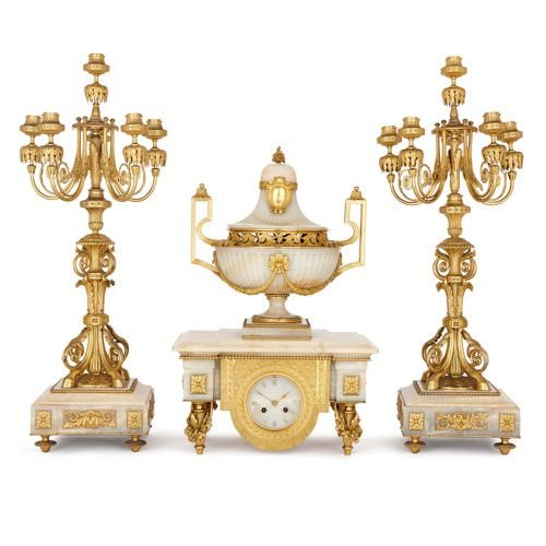 Ormolu and white onyx clock set, attributed to Barbedienne