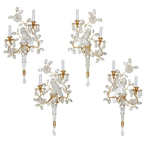 Four Bagues style gilt metal, glass and rock crystal wall lights