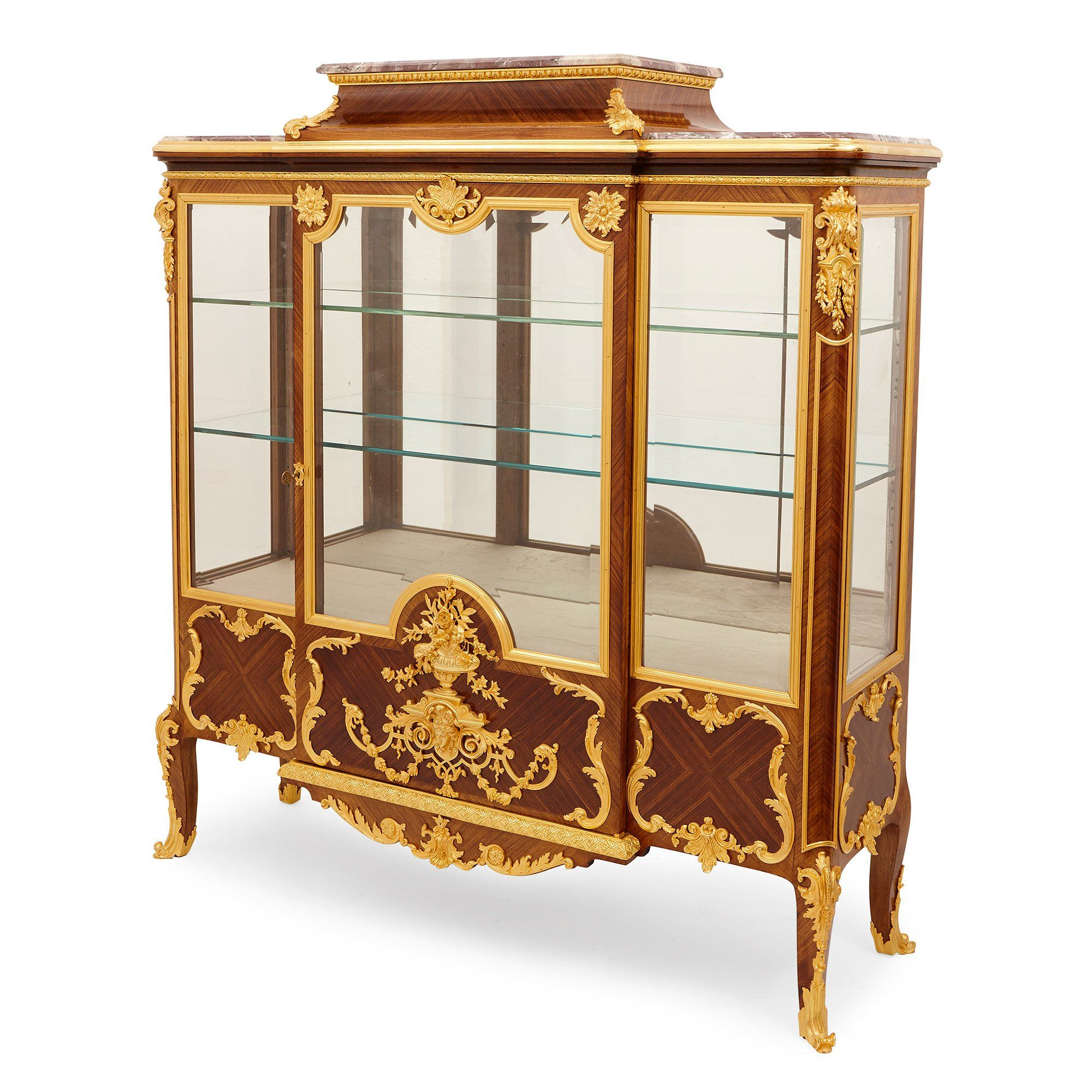 Ormolu Mounted Kingwood And Marble Antique French Vitrine