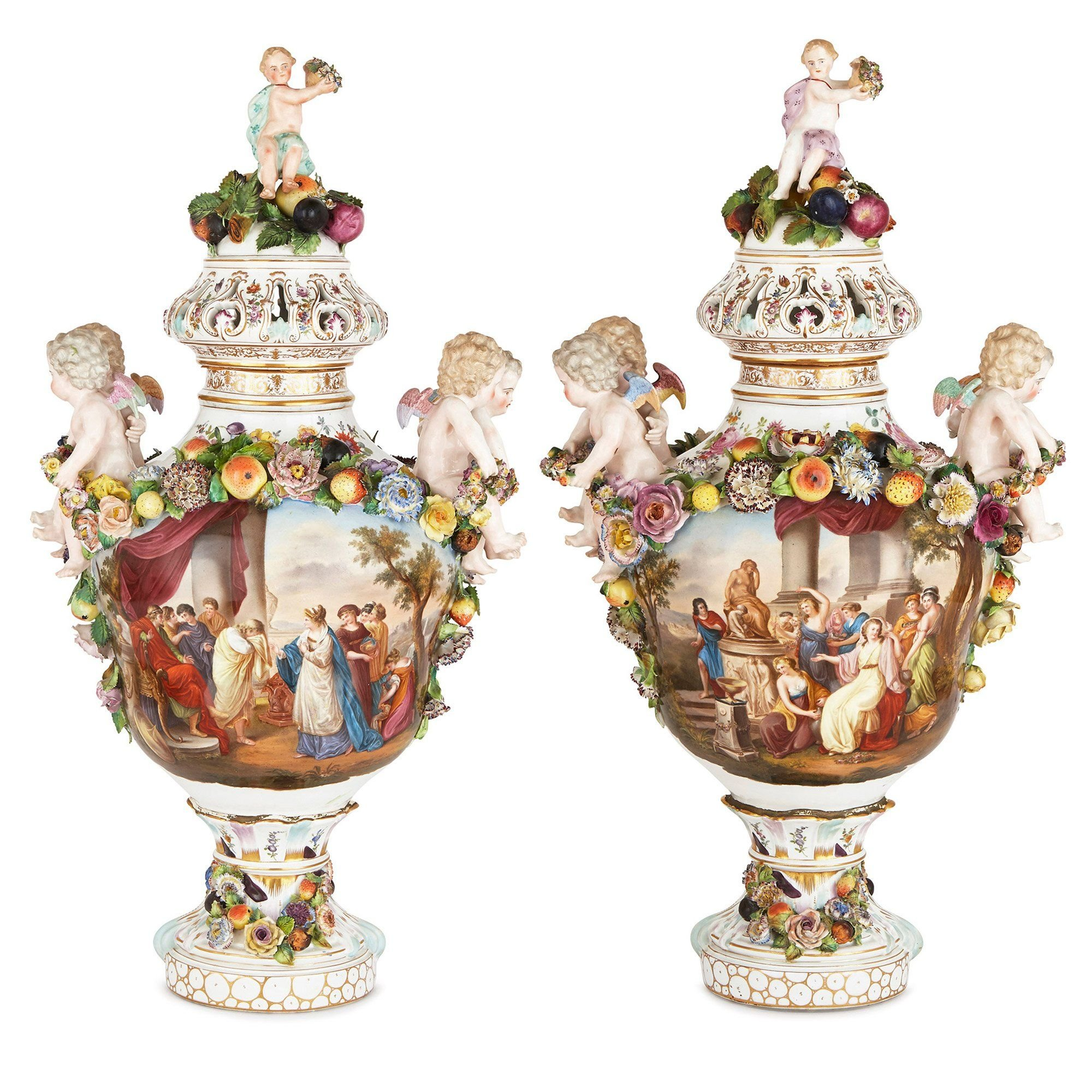 Pair Of 19th Century Dresden Porcelain Vases Mayfair Gallery