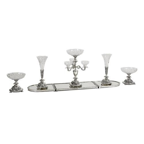 A silver-plated and crystal mirrored surtout centerpiece suite