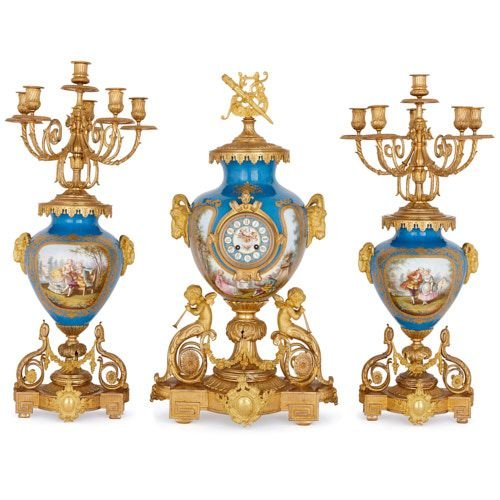 Antique Sèvres style porcelain and ormolu clock set