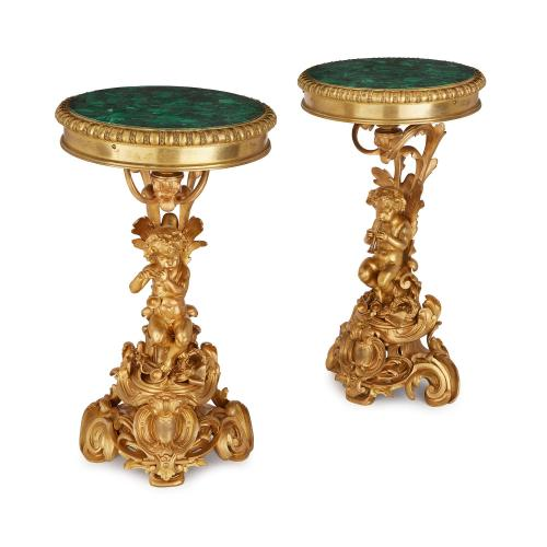 Pair of ormolu side tables with circular malachite tops