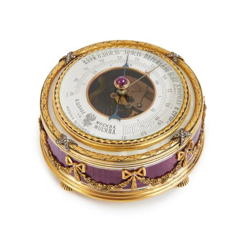 Russian Fabergé style silver gilt interior temperature gauge