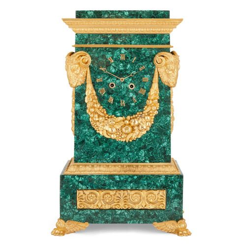 Neoclassical style ormolu mounted malachite mantel clock