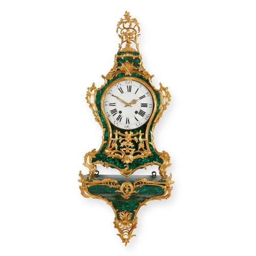 Rococo style malachite and ormolu antique cartel clock