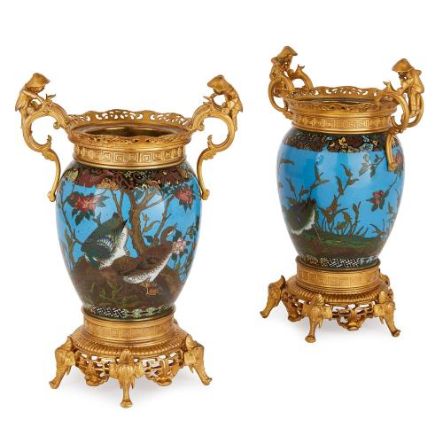 Pair of ormolu mounted cloisonné enamel antique Meiji vases