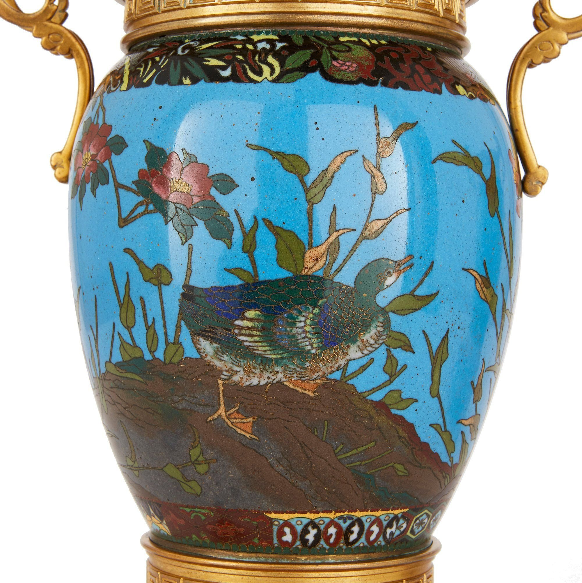 Pair Of Ormolu Mounted Cloisonn 233 Enamel Antique Meiji Vases Mayfair Gallery