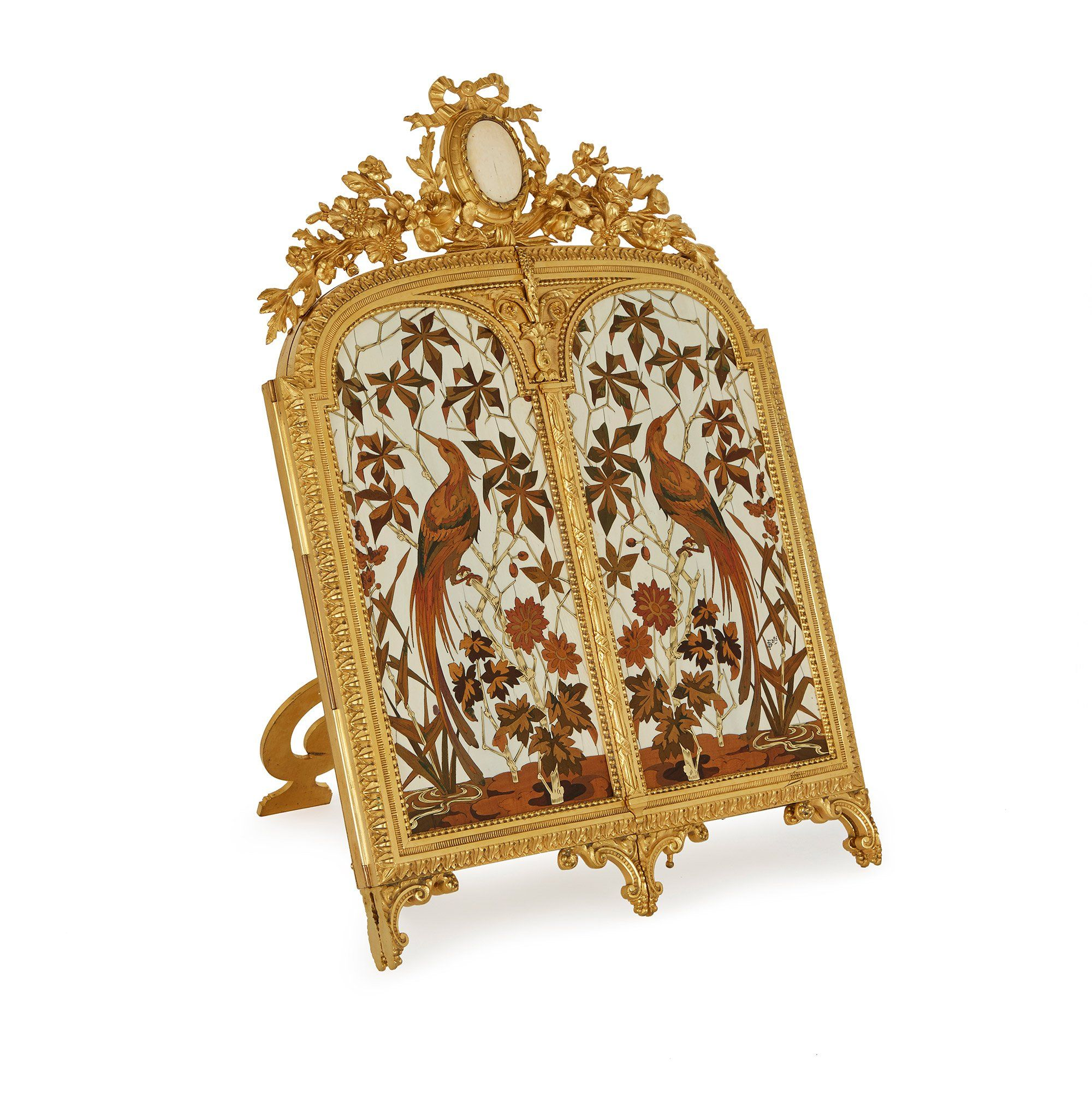 Antique Ormolu Triptych Table Mirror By Giroux And