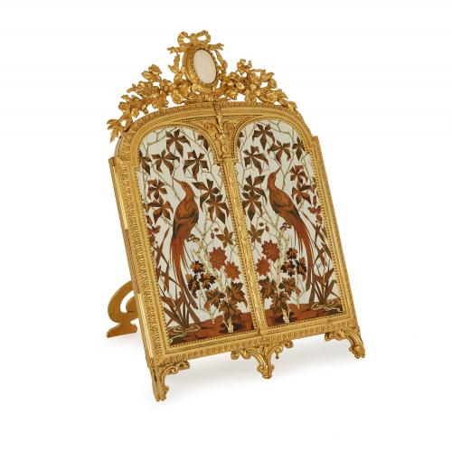 Antique ormolu triptych table mirror by Giroux and Duvinage