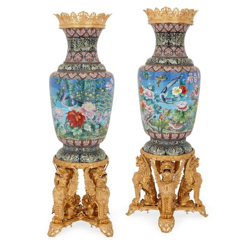Pair of large ormolu mounted Chinese cloisonné enamel vases