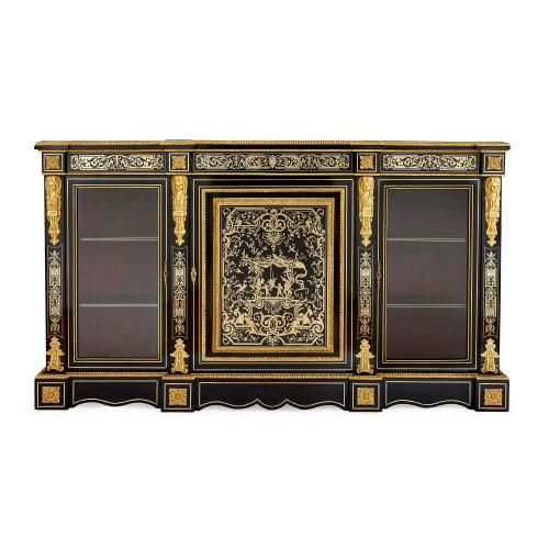 Ormolu and Boulle marquetry ebonised wood vitrine cabinet