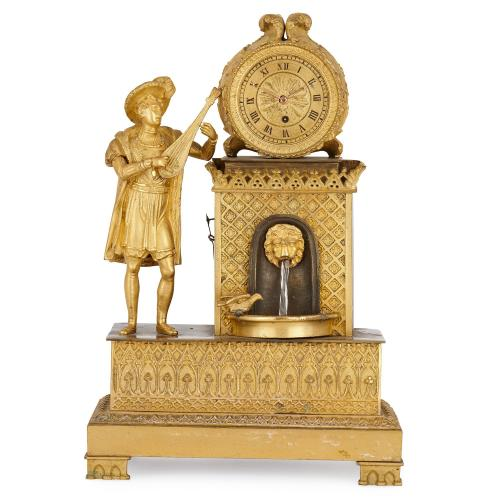 Antique French gilt bronze waterfall mantel clock
