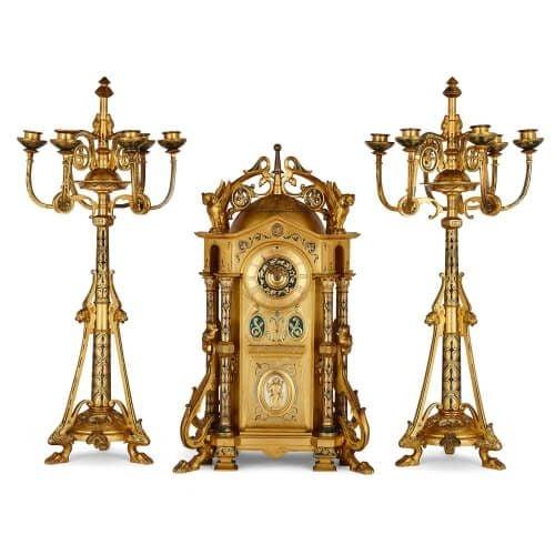Neo-Byzantine style enamel and ormolu clock set by Raingo Frères