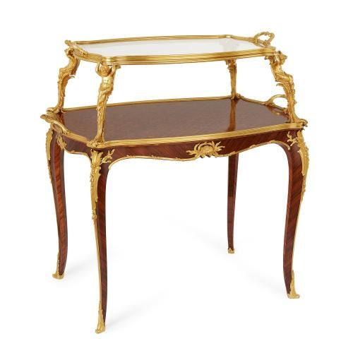 Ormolu and glass mounted rosewood marquetry table by F. Linke