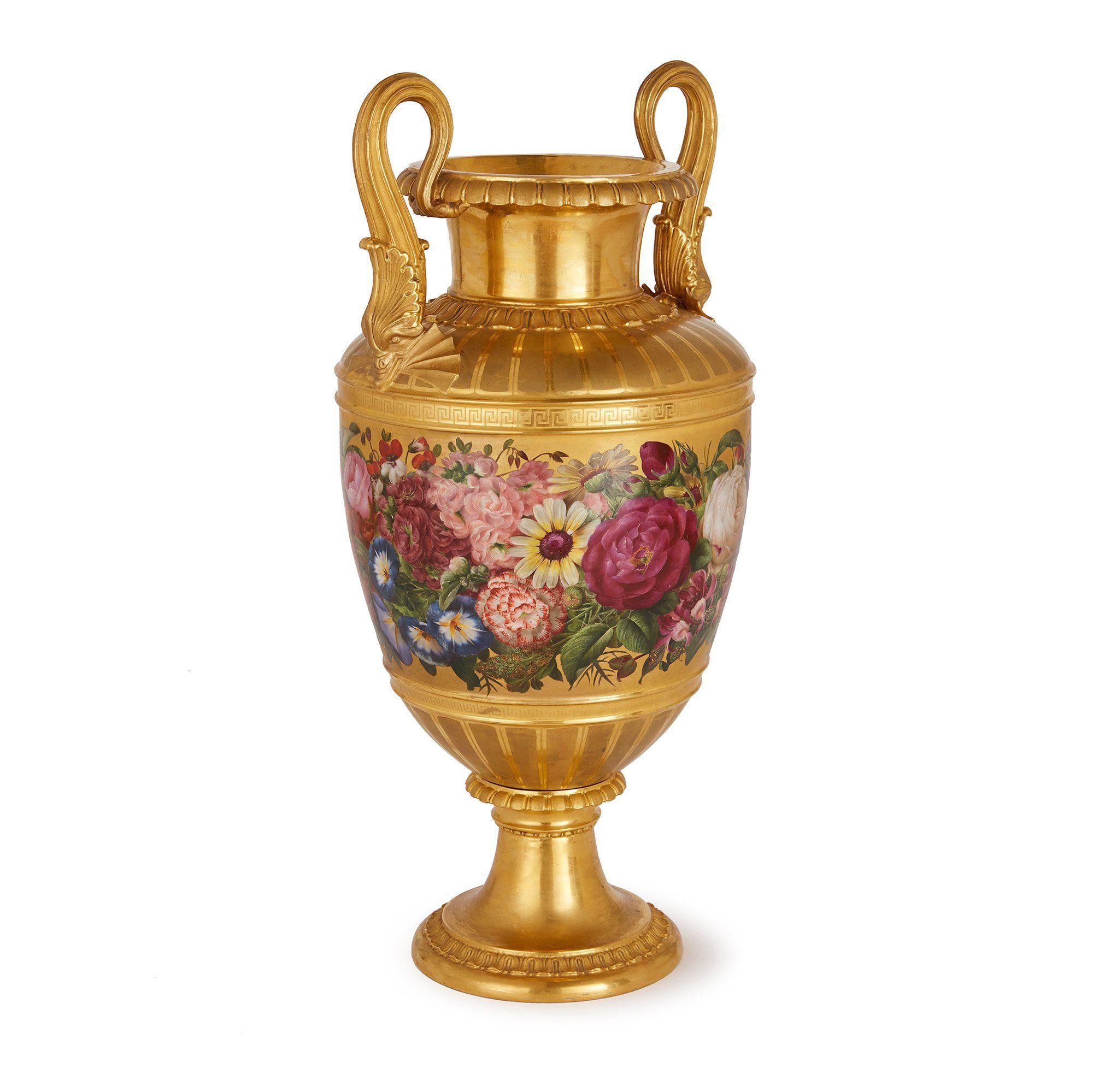 Royal Copenhagen Gilt Ground Antique Porcelain Vase