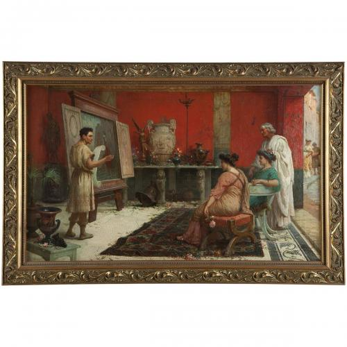 A painting of a Roman interior scene by Ettore Forti