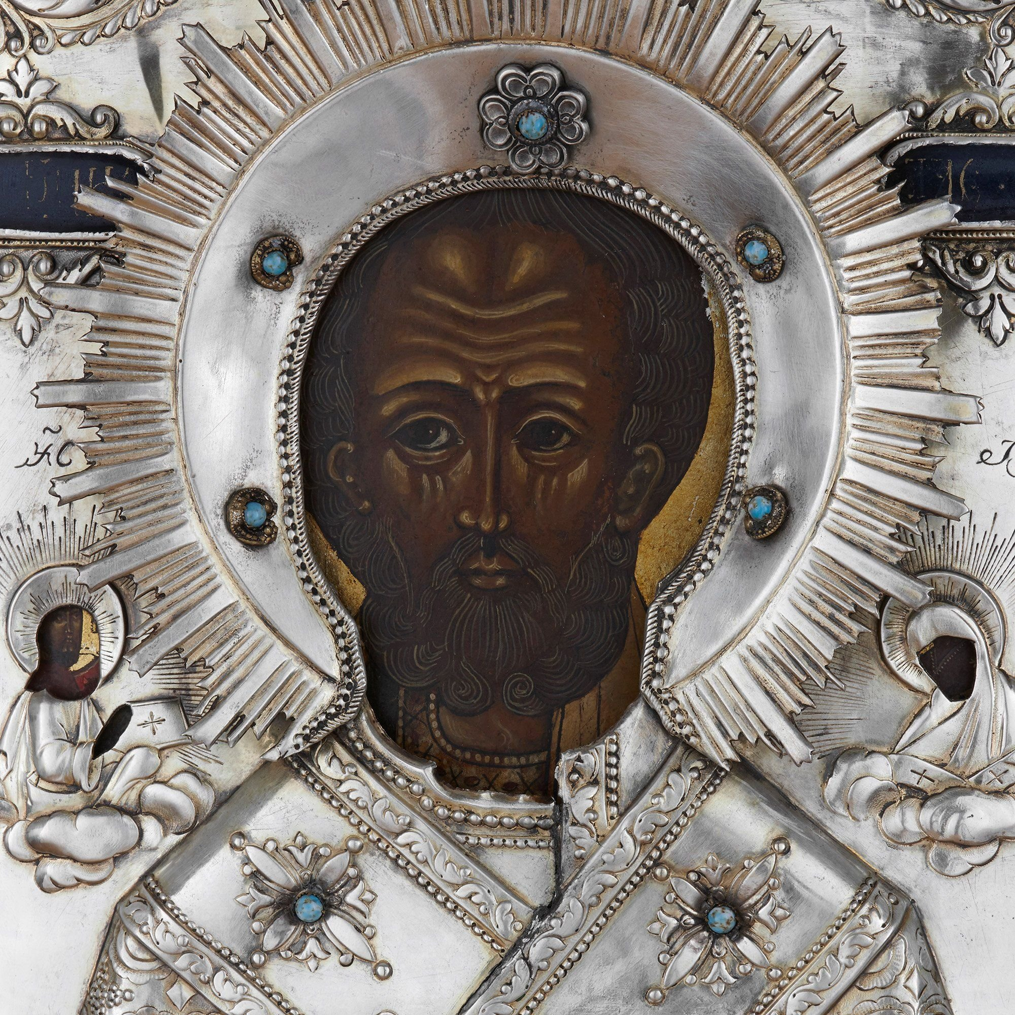 Jewelled Parcel Gilt And Silver Russian Icon Of St Nicholas Mayfair Gallery
