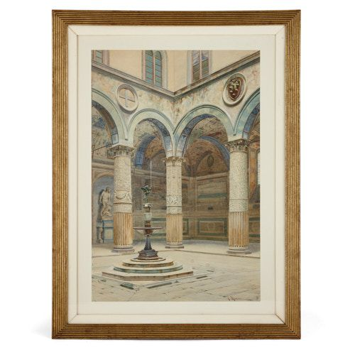 Watercolour painting of Palazzo Vecchio courtyard by Marrani