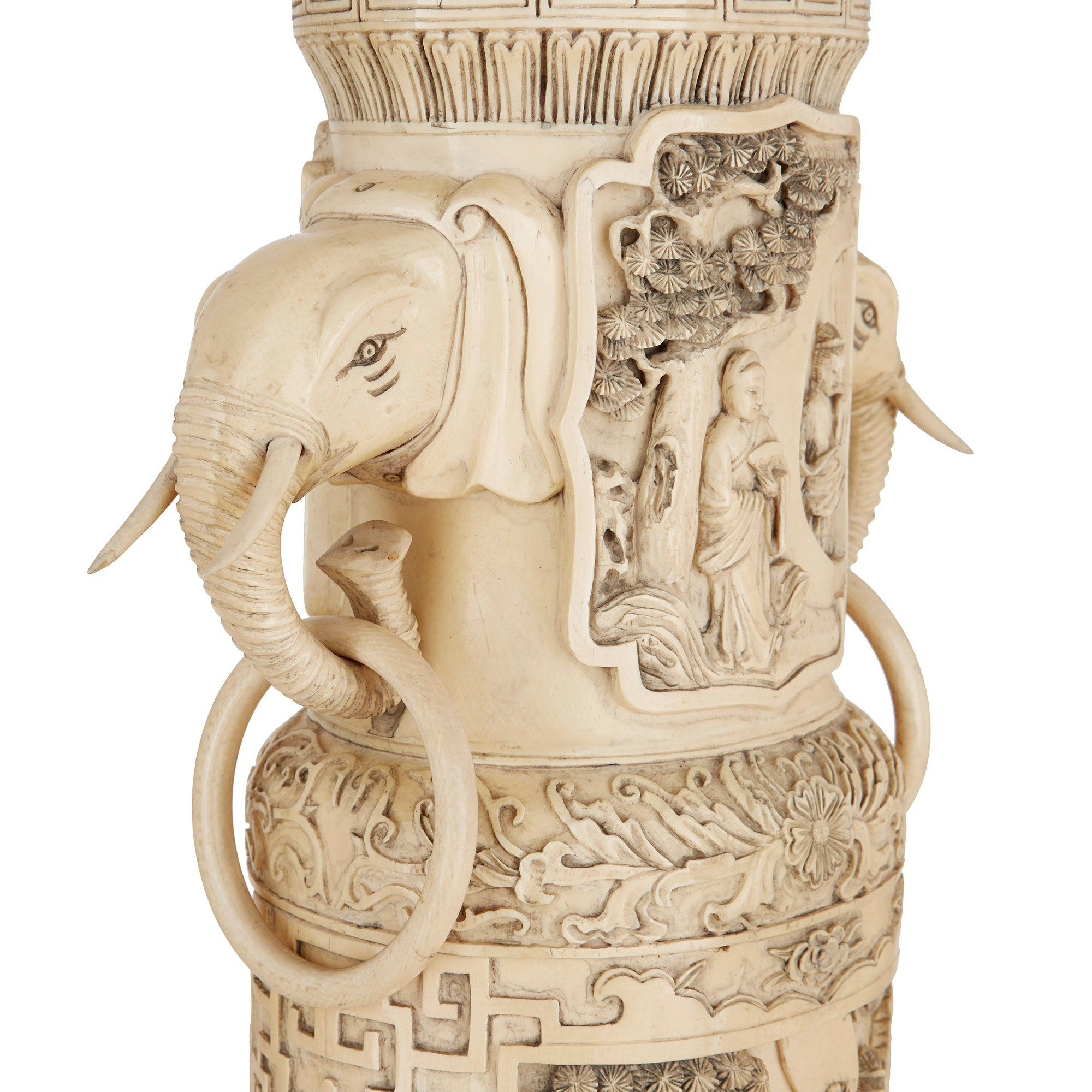 Ivory Mother Of Pearl Floor Vase In 2019: Large Pair Of Chinese Qing Dynasty Antique Ivory Vases