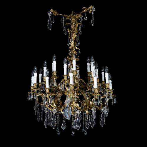 Rococo style ormolu and cut glass antique French chandelier