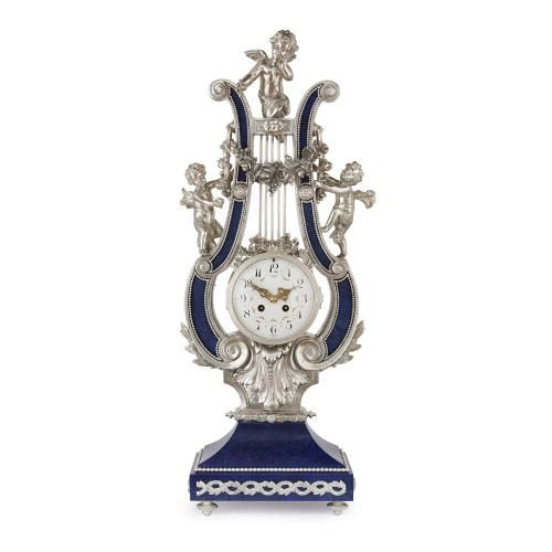 Lapis lazuli and silvered bronze lyre shaped mantel clock