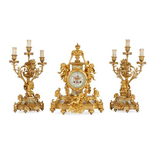 Sèvres porcelain and ormolu clock set by Le Roy et Fils