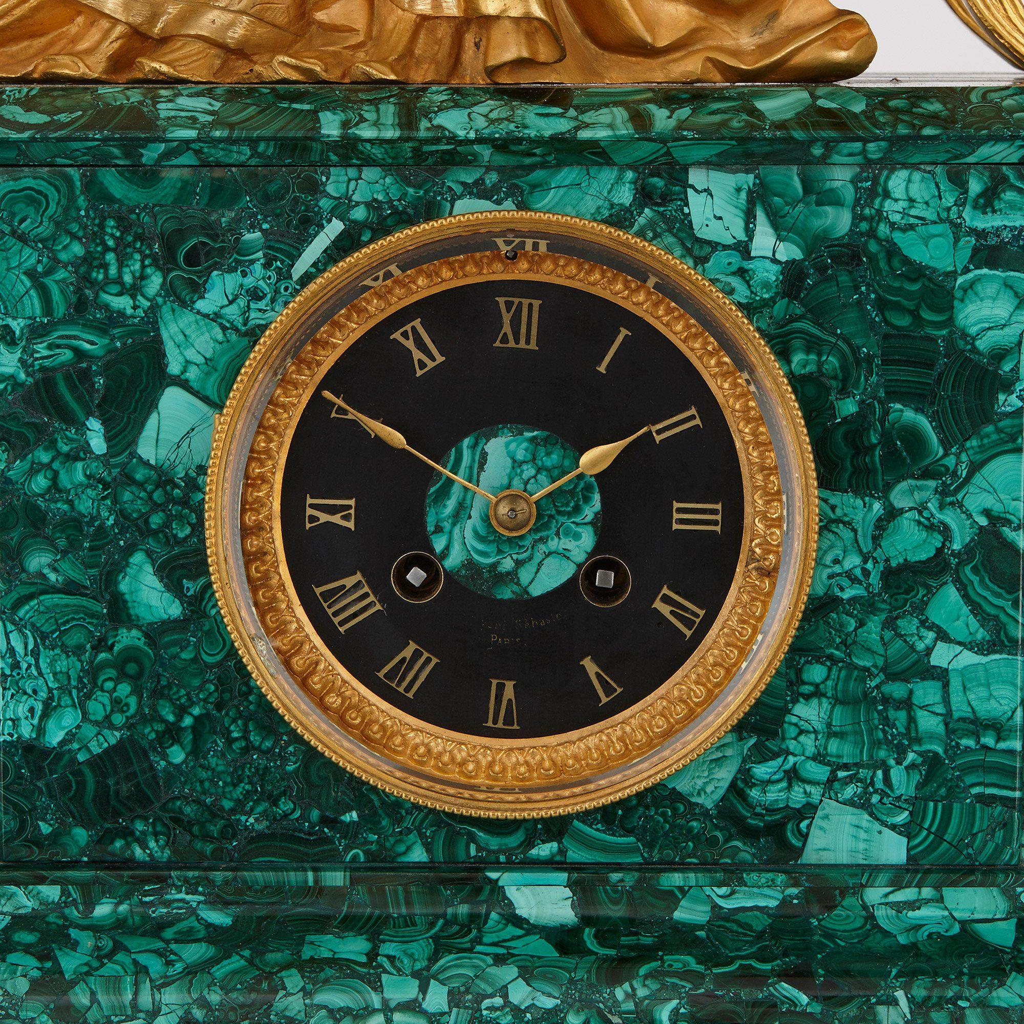 Large French Antique Ormolu Mounted Malachite Clock Set