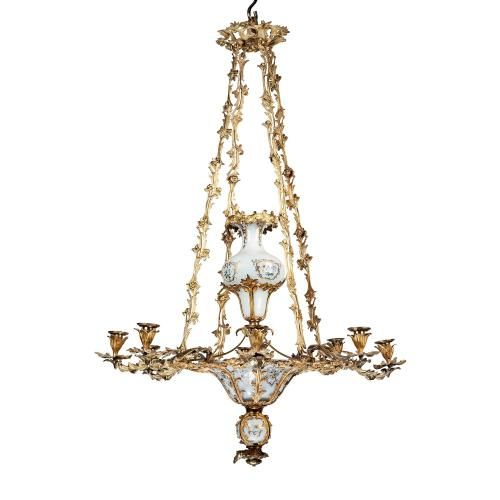 A Louis XVI style ormolu and opaline chandelier