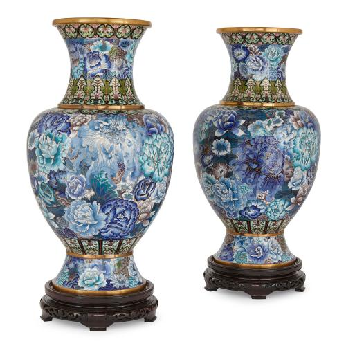 Pair of cloisonné enamel Chinese vases, Qing period