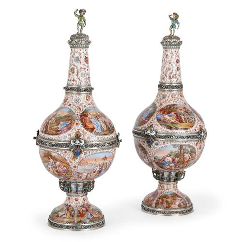 Pair of Viennese silver and enamel vases with covers