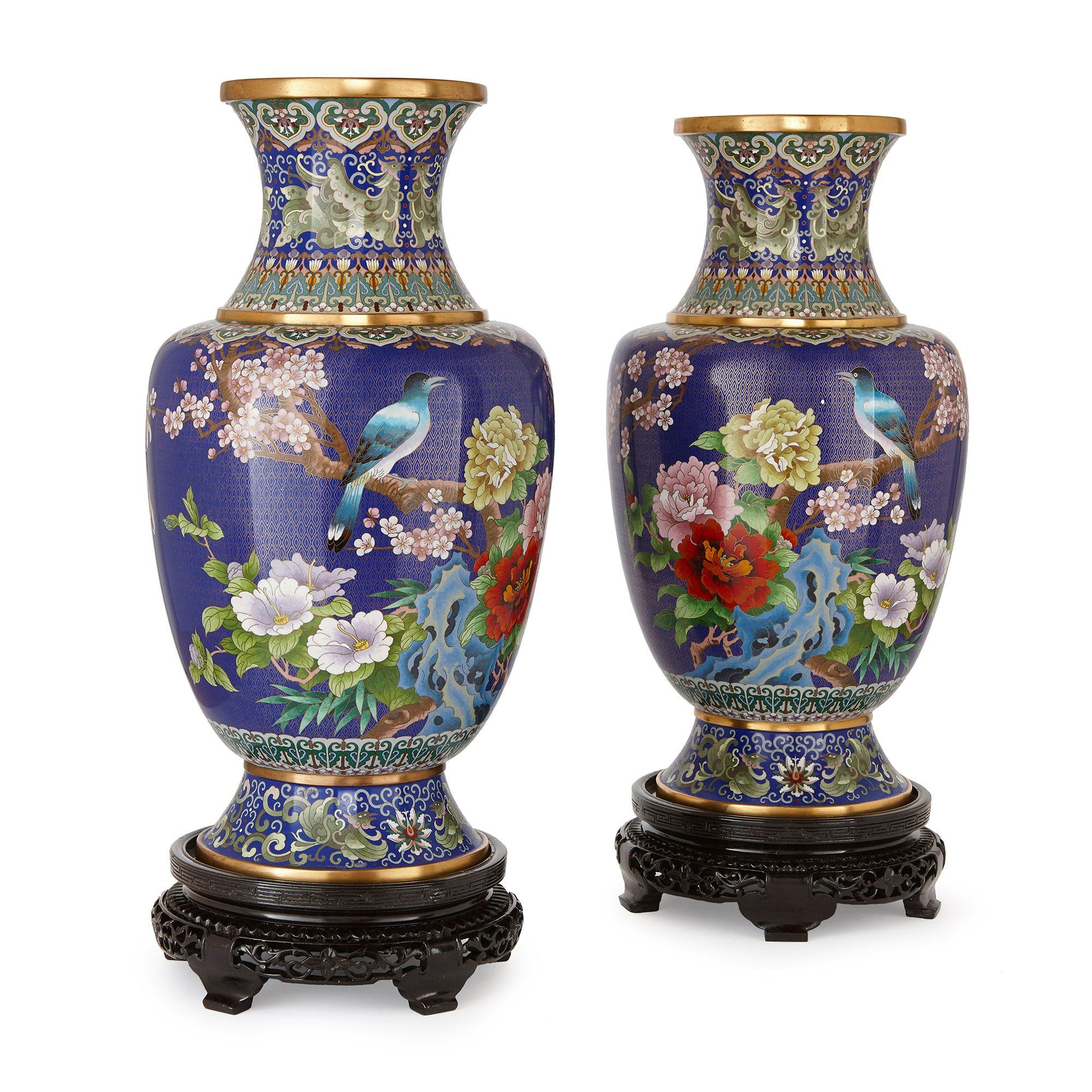 Pair Of Large Chinese Cloisonn 233 Enamel Vases On Wooden